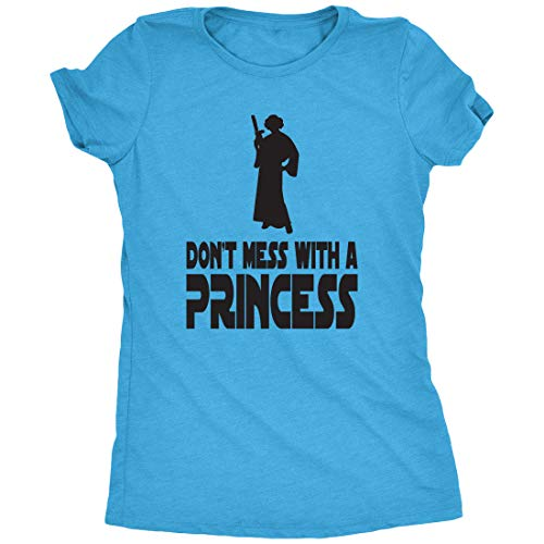 Trunk Candy Don't Mess with A Princess Women's T-Shirt (Turquoise Frost, 3X-Large)