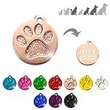 Iberiagifts - Placa Redonda con Huella para Mascotas Medianas-Grandes Chapa Medalla de identificación Personalizada para Collar Perro Gato Mascota grabada (Rosa)