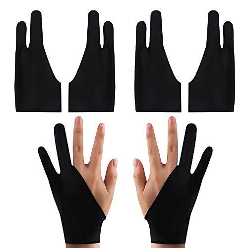 Nifocc 4 guantes de artista para dibujo gráfico de 2 dedos para tableta, monitor de pintura, papel de boceto, apto para mano izquierda y derecha, 17,5 x 7,5 cm, color negro
