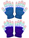 Amazer 2 Pack Kids Light Gloves Children Finger Light Flashing LED Warm Gloves with Lights for Birthday Light Party Christmas Xmas Dance Thanksgiving Day Gifts for More Fun - Blue and Purple