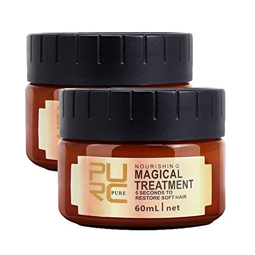 Magical Hair Treatment Mask, Advanced Molecular Hair Roots Treatment, Professtional Hair Conditioner, Deep Conditioner Suitable for Dry & Damaged Hair, Restore Soft Hair Fast (2 * 60ML)