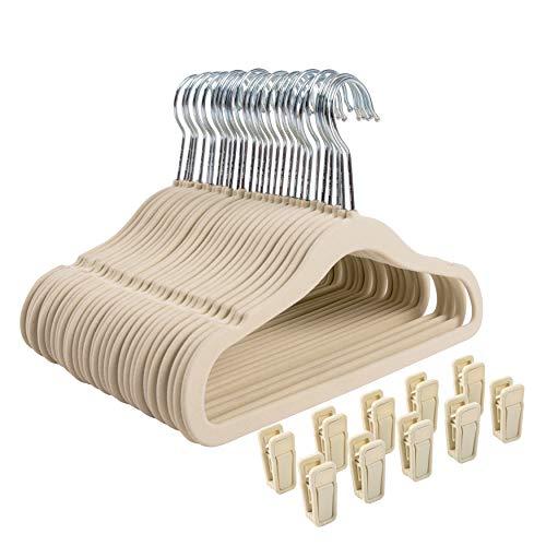 Facile da Scorrere Abbastanza Forti per Cappotti Ideali per Camicie Sciarpe Finnhomy Confezione da 50 grucce in plastica Resistente salvaspazio con Cuscinetti Antiscivolo Pantaloni