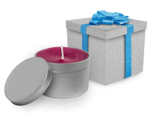 Jewish Creations Rose Scented Candle and Gray Glitter Boutique Gift Box with Blue Ribbon | Perfect For Jewish Holidays or For Relaxing at Home | Paraffin Wax with Pure Scented Oils | Tin Color Silver