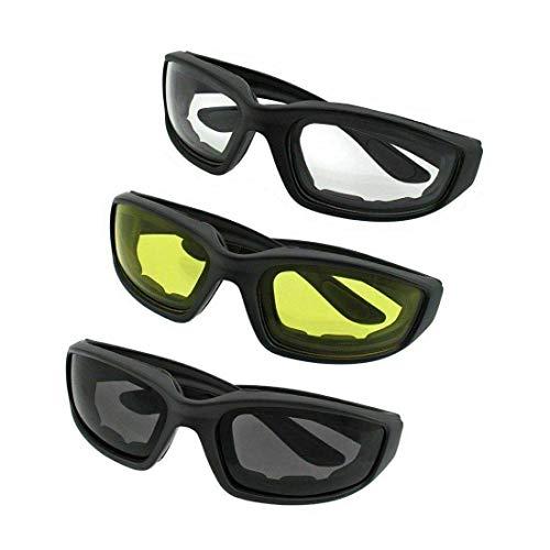 N&F 3 Paar Kit Männer Frauen Motorradbrille gelbe Gläser Bikerbrille Sonnenbrillen