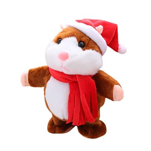 NUOBESTY elektrischer Hamster Spielzeug niedlicher plüsch laufender Hamster mit weihnachtsanzug Kuscheltier zum Geburtstagsgeschenk ohne Batterie Hellbraun