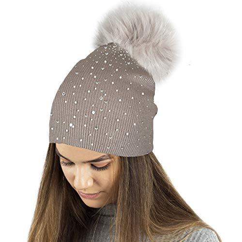 TOSKATOK® Berretto Invernale in Maglia fine da Donna con Applicazione di Diamante Glitter e Grande Pompon in Eco-Pelliccia