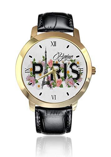 Bonjour Paris - Reloj de pulsera analógico de cuarzo para hombre y mujer