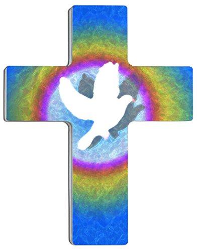 """metALUm Croix Murale """" La colome dans l'arc de Ciel"""" en Aluminium et Acrylique, Un Joli Accessoire pour Votre Maison ou Un Cadeau Extraordinaire"""