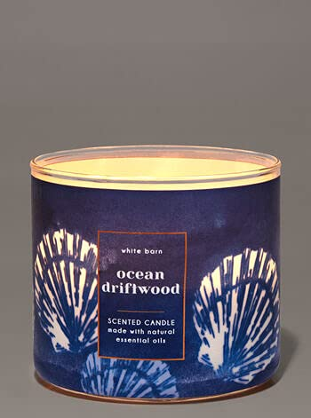 Bath & Body Works, White Barn 3-Wick Candle w/Essential Oils - 14.5 oz - 2021 Summer Scents! (Ocean Driftwood)