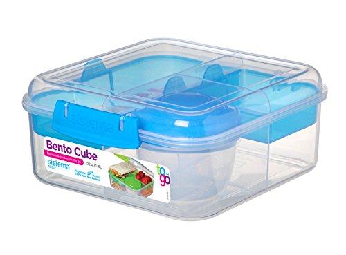 Sistema 5-voudig onderverdeelde XL lunchbox Bento Cube - 1250 ml lunchdoos inclusief beker met schroefsluiting 17,5 x 17,5 x 8 cm (B x D x H) 21685