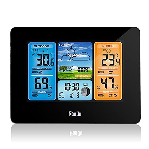 ZTJ Estación meteorológica inalámbrica con Sensor Inalámbrico para Interior Exterior, Termómetro Digital Higrómetro con Temperatura, Humedad, Pronóstico del Tiempo,Negro