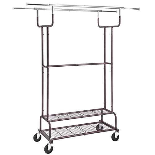 Simple Trending Double Rail Clothes Garment Rack Heavy Duty Commercial Grade Clothing Rolling Rack on Wheels and Bottom Shelves Holds up to 300 lbs Bronze
