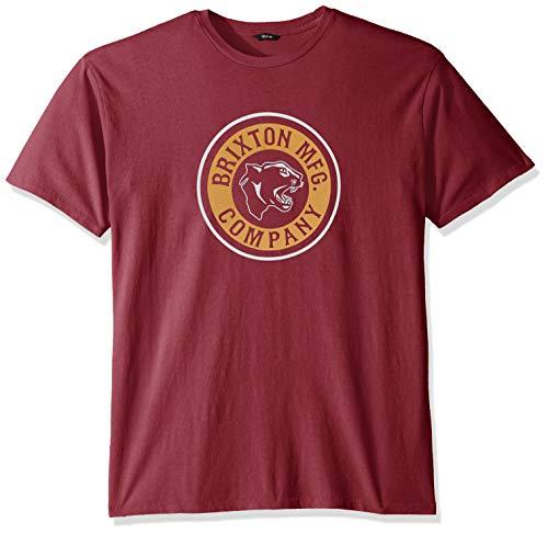 BRIXTON Forte S/s Stt T-Shirt, Burgundy, S Uomo