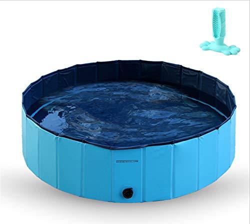 WWLONG Haustier-Schwimmbad Katzenhund-Badewanne, extra großes faltbares Haustier-Hundebecken, Kinderdusche, umweltfreundliche Inushachi PVC-Materialien, mehrere Größen-Blue-XXL