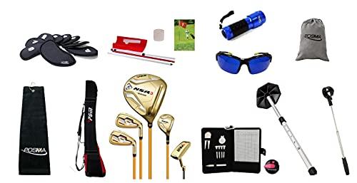 Juego completo de palos de golf para hombre, dorado, mano derecha, 5 clubes, Carbon Shat, LOTF, ajustable, con bolsa impermeable y juego completo de suministros de entrenamiento-POSMA MGCS33GS5GOL_B2