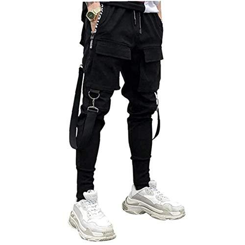 xiaocheng Casual Men Hose Cargohose Haremshosen Overalls Hiphop Punk Pants Jogger Sport für Männer Jungen Schwarz 3XL Gelegenheits Zubehör