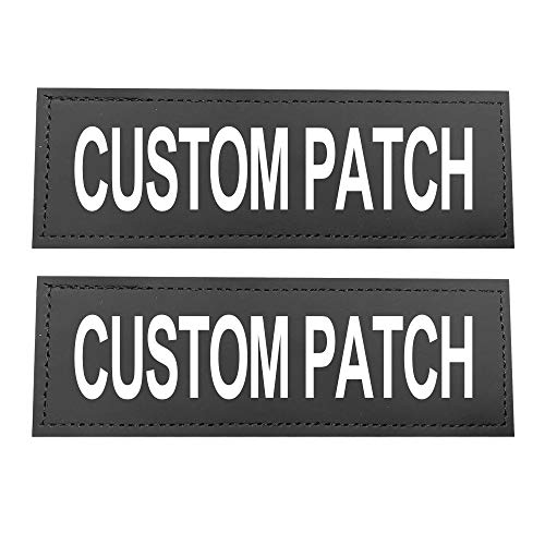 Dihapet Custom Name Patch for Dog Harness Vest Collar , Customizable Text Personalized Pet Patches Tags with Hook ,Dog Name Label Sticker (S: 4.3'x1.2')