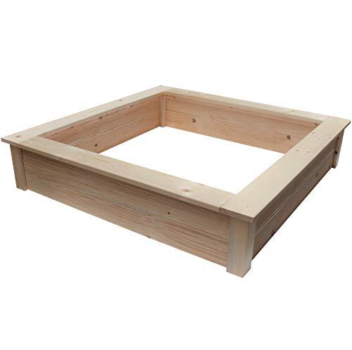 Clamaro 'Beach' Holz Sandkasten 190 x 190 cm extra stabil aus Fichte Massivholz Bohlen (28mm stark, unbehandelt), Sitzumrandung mit abgerundeten Kanten, verzinkte Schrauben - 100% Made in Germany