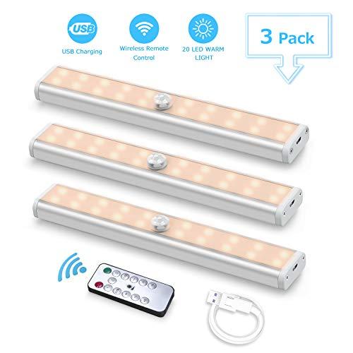 USB Recargable Luces LED para Armario(3pcs,60led), Fansteck lámpara Inalámbrica Nocturna Portátil Ajuste de Brillo/Cinta Magnética/Apagado Automático, para pasillo/cocina/armario. Luz blanca cálida