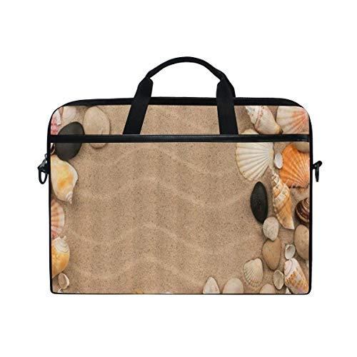 FOURFOOL 15-15.6 inch Laptop Bag,Marine Life Sea Shells and Stones Lying Dunes,New Canvas Print Pattern Briefcase Laptop Shoulder Messenger Handbag Case Sleeve