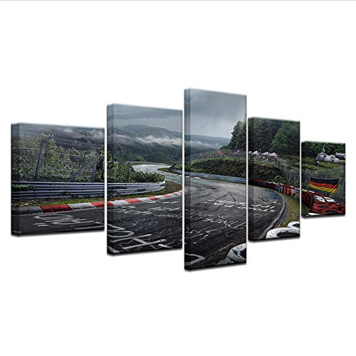 GTomorrow Leinwandbilder, Bilder Auf Leinwand, Nürburgring-Sammlung-Straße 150X80Cm(B) 5-Teilig, Wandbilder Wohnzimmer Wohnung Deko Fertig Zum Aufhängen