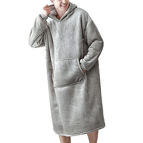 Coperta indossabile con cappuccio oversize felpa coperta con pieghevole gigante in microfibra flanella per donne e uomini, Grigio Chiaro Uomo, XL