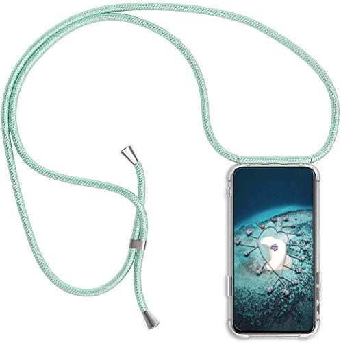 Handykette Handyhülle für Samsung Galaxy S7 Edge mit Band - Handy-Kette Handy Hülle mit Kordel zum Umhängen Handyanhänger Halsband Lanyard Case-Grün