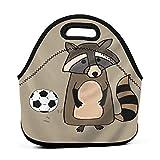 ADONINELP Bolsa de almuerzo Bolsa portátil para bento,mapache jugando al fútbol,paquete de neopreno con cremallera para la escuela,trabajo,oficina,bolso de viaje
