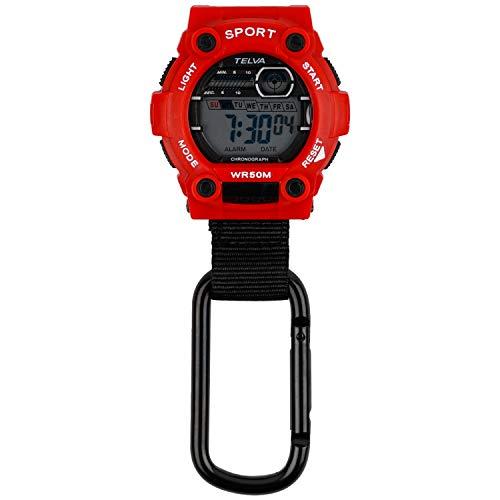 [クレファー] 懐中時計 カラビナウォッチ デジタル 防水 ストップウォッチ ライト 付き レッド CB-D240-RD