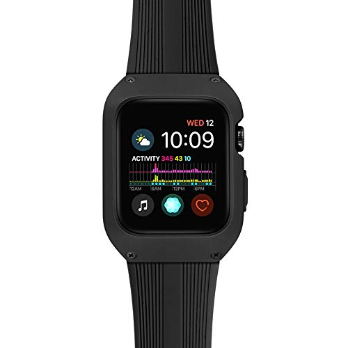 Tasikar Compatible con Correa Apple Watch 38mm con Funda Protectora Resistente Correa de Silicona Compatible con Apple Watch Series 3 Series 2 Series 1 (Negro)