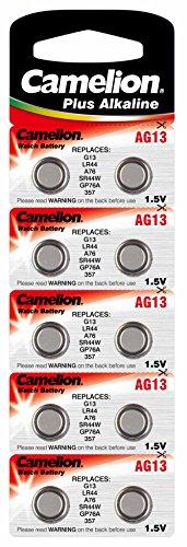 Camelion AG13 / LR44 / A76 Knopfzelle Alkaline Alkali Batterie, 10-er Pack, Lange Haltbarkeit (Haltbarkeitsdatum markiert)