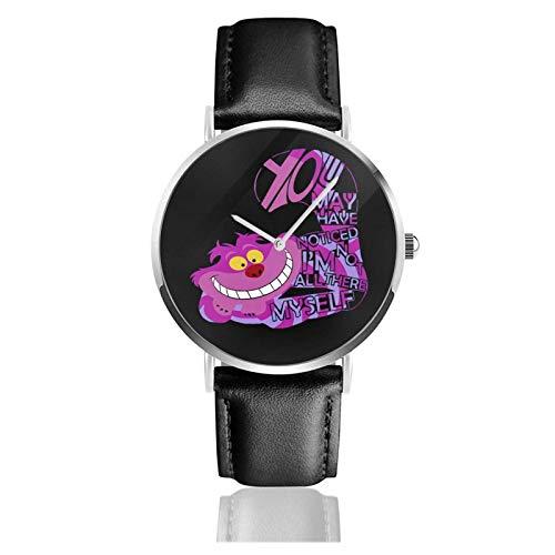 Armbanduhr Analog Quarz Ultra Dünn Business PU Leder Armband Uhren Grinsekatze