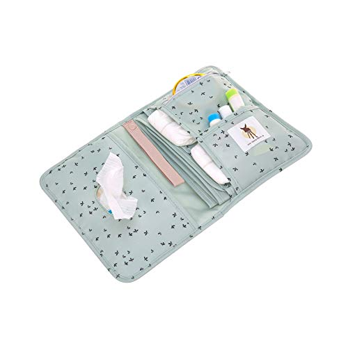 LÄSSIG Baby Windeltasche mit Wickelunterlage für unterwegs/Changing Pouch Floral mint, Türkis ( Mint)