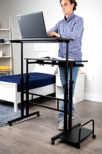 Mind Reader Mobile Sitting, Standing Desk Rolling Reversible Home Office Laptop Workstation with Side Storage, Locking Wheels, X-Large, Black