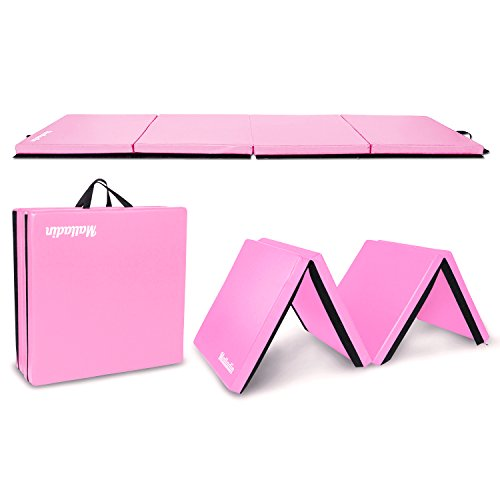 Matladin 8' Folding Gymnastics Gym Exercise Aerobics Mat, 8ft x 2ft x 2in PU Leather Tumbling Mats for Stretching Yoga Cheerleading Martial Arts (Pink)
