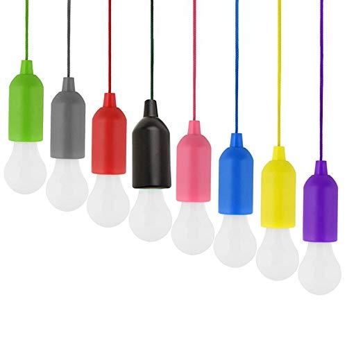 Haude Candelabro de Bombilla Colorida de 8 Piezas Bombilla de Luz LED PortáTil con CordóN LáMpara de Luz LED Colgante para JardíN al Aire Libre