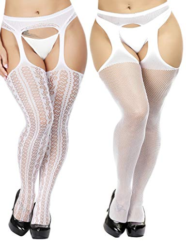 TGD Womens Plus Size Stockings Suspender Pantyhose Fishnet Tights Fashion Thigh High Stocking 2 Pairs (White 35)