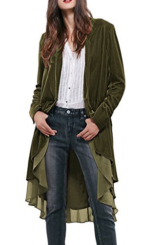 R.Vivimos Womens Ruffled Asymmetric Long Velvet Blazers Coat Casual Jackets (Small, Army Green)