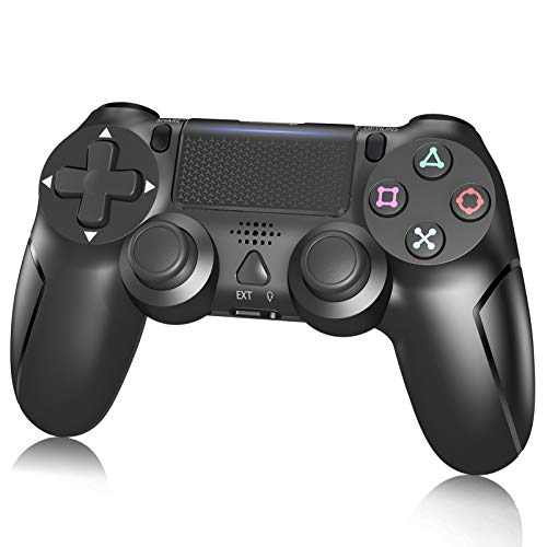 PS4 Controller,Wireless Controller for Playstation 4/Slim/Pro/PC,PS4 Remote with Dual Vibration/6-axis Gyro/Speaker/Light-Bar and USB Cable(Black)