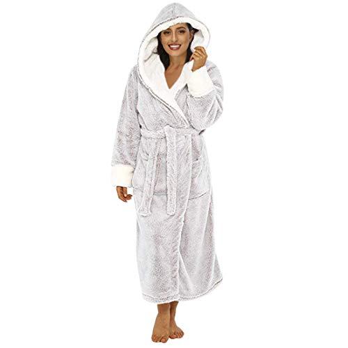 OEAK Bademantel Damen mit Kapuze Plüsch Morgenmantel Lang Winter Schlafmantel Langarm Robe Mantel Kapuzenbademantel für Frauen(Grau,M)