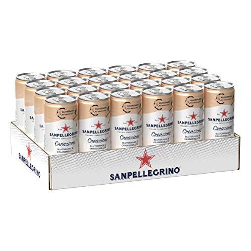 Sanpellegrino Creazioni, Blutorange & Orangenblüte,nur 35 Kalorien pro Dose, ohne künstliche Süßstoffe, erfrischender Geschmack, 6% echter Fruchtsaftanteil, 24er Pack (24 x 0,33l) Einweg Dosen