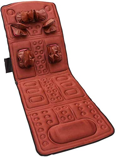 NMQQ Coprisedile per Massaggio, Riscaldamento Vibrazione Massaggio Magnetico Materasso Terapia Cervicale Collo Spalla Vita in Vita Rilassamento Massaggio Coperta per Uso Ufficio in Casa, Marrone