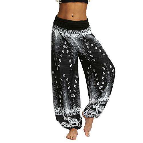 Pantalon Fluide Femme Imprimé Florale Ryures Pants Éléphant Yoga Doux Casual Losse Pantalon Sarouel Aladin Jogging Hiver(Gris,Medium)