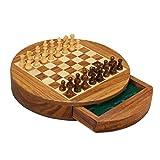 Checkers Xinjin Juego de ajedrez magnético Redondo, Piezas de ajedrez de Madera Maciza, Almacenamiento en cajones, ajedrez para Adultos para niños, antisuciedad y antidesgaste