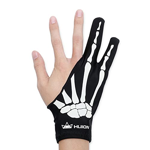 HUION Skeleton Glove for Graphics Drawing Tablets Free Size Two-Finger Artist Glove for Pen Display LCD Light Box Pad Sketch, Good for Right and Left Hand - One Unit, Non-Fluorescent Color,Right