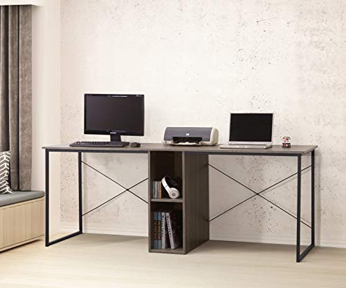 Weathered Grey Finish 79'' Wide 2-Person Computer Home Office Desk with Storage Shelf, Double Workstation Desk