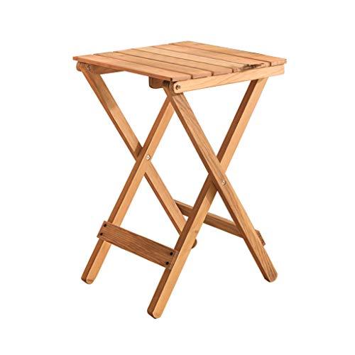 XIAOYUhy opvouwbare houten tafel, geschikt voor terras of camping, massief hout, bijzettafel, tuintafel, primaire kleur wit 2