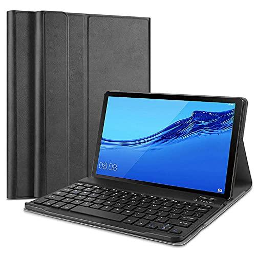 SsHhUu Funda con Teclado para Huawei MediaPad M5 Lite 10, Keyboard Case Cubierta Delgada, Teclado Inalámbrico Desmontable para Huawei MediaPad M5 10-Pulgadas Lite 10.1' 2018, Negro