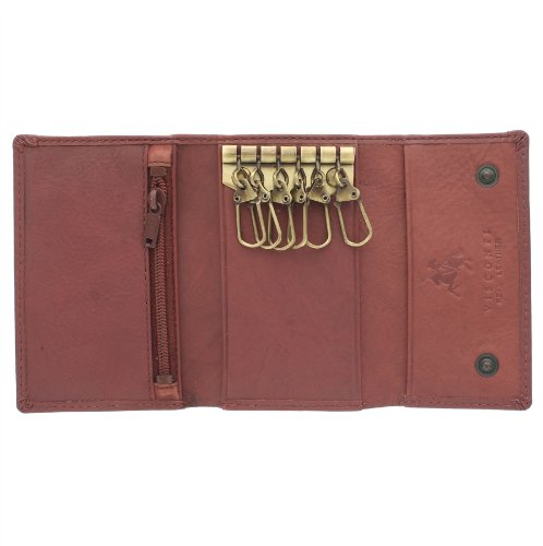 Visconti Compact Leather Keycase Wallet 1178 Brown