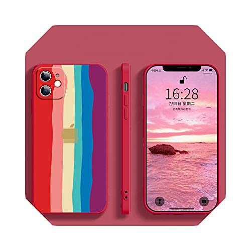 Funda de silicona para iPhone 6, 6S, 7, 8, SE2, 11, 12, para iPhone 6, 6S, 7, 8 Plus, X, XS, XR, 11Pro y 12Pro Max Soft Caseven Rainbow-for iPhone 11